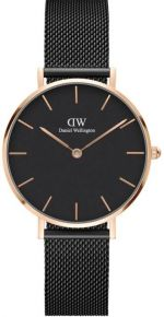 DANIEL WELLINGTON CLASSIC PETITE ASHFIELD ROSE GOLD BLACK 32MM DW00100201 + dárek zdarma