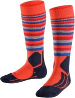FALKE SK2 Stripe Kids Skiing Socks - samba orange 35-38
