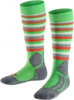 FALKE SK2 Stripe Kids Skiing Socks - vivid green 27-30