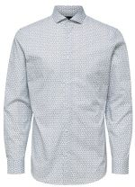 SELECTED HOMME Pánská košile SLHSLIMSEL-WOODY SHIRT LS AOP B Bright White AOP Tops A 12 S